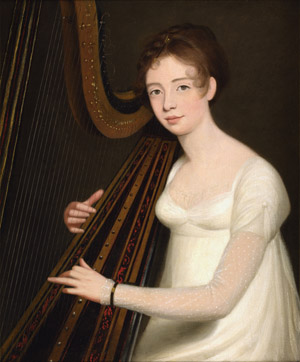 Portrait of a Young Woman playing the Harp, Robert Home